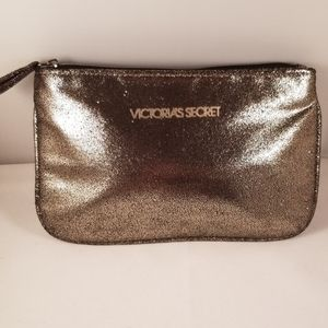 Victoria's Secret Gold Glitter Cosmetics Bag